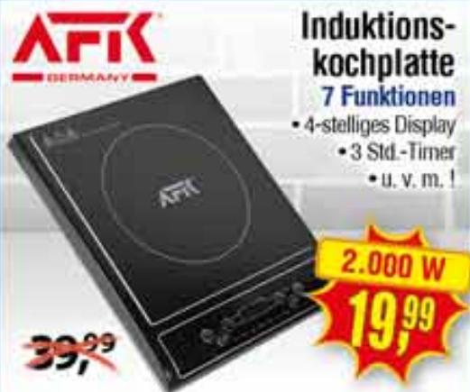 [NRW/RP] AFK Induktionskochplatte 2000W mit 7 Funktionen und Timer [CENTERSHOP]