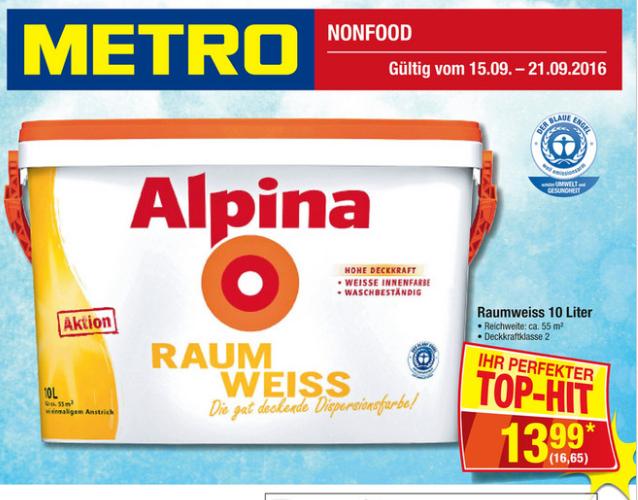 METRO Alpina Raumweiß 10l für 16,65€ - IDEALO ab 38,95€