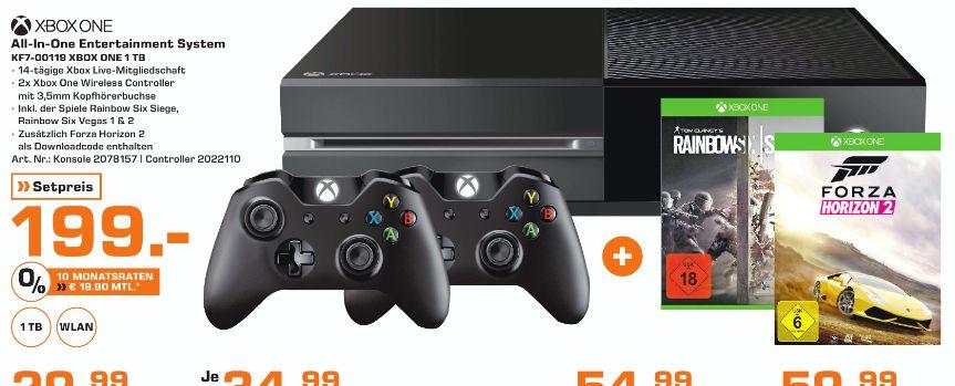[Lokal Saturn Stuttgart/Esslingen] Microsoft Xbox One mit 1TB + Rainbow Six Siege + Forza Horizon 2 + 2.ten Controller für 199,-€