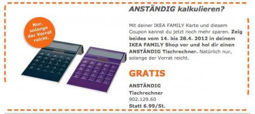 IKEA Taschenrechner geschenkt für FAMILY-Mitglieder