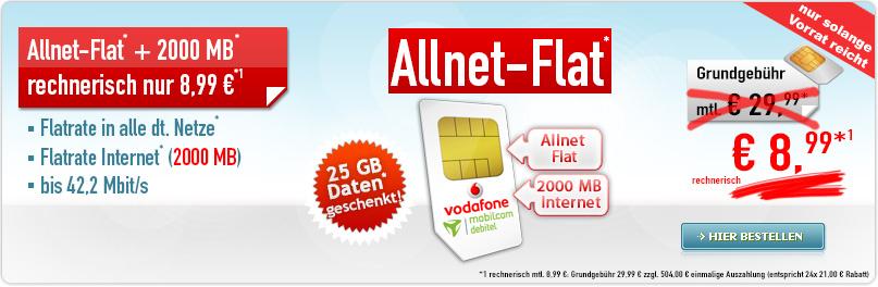 [Handybude] Allnet-Flat + 2000 MB 8,99 Aktion + 504€ Auszahlung + AG Frei