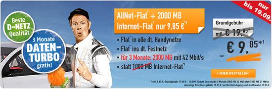 [Handybude] Klarmobil im Telekom-Netz  AllNet Flat 2000 Daten-Turbo 9,85 € Aktion
