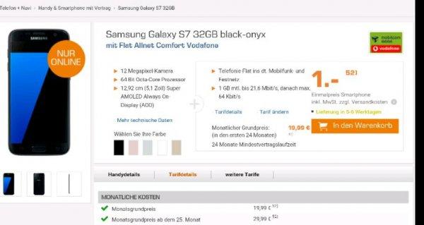 [saturn online] S7 mit MD Vodafone Tarif all net flat 1GB Gesamtpreis 520 Euro
