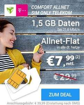 [Sparhandy] mobilcom-debitel Telekom Comfort Allnet  sim-only 7,99€