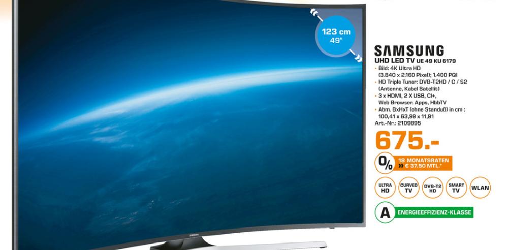 [Saturn - Berlin] SAMSUNG UE49KU6179 UHD 4K LED-TV für 675 €