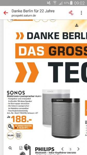 [Berlin] 22 Jahre Saturn - z.b. Sonos Play 1 für 188€