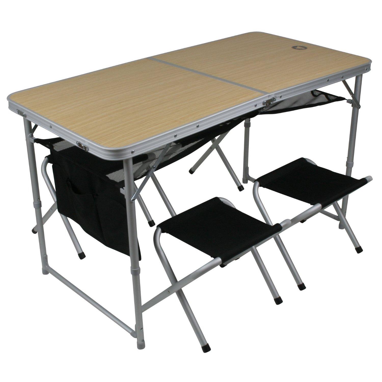 10T Portable Family - Mobiles Tisch-Hocker-Set 4 Personen Aluminium + Netz-Ablagefäche im Koffer 64x64x9cm