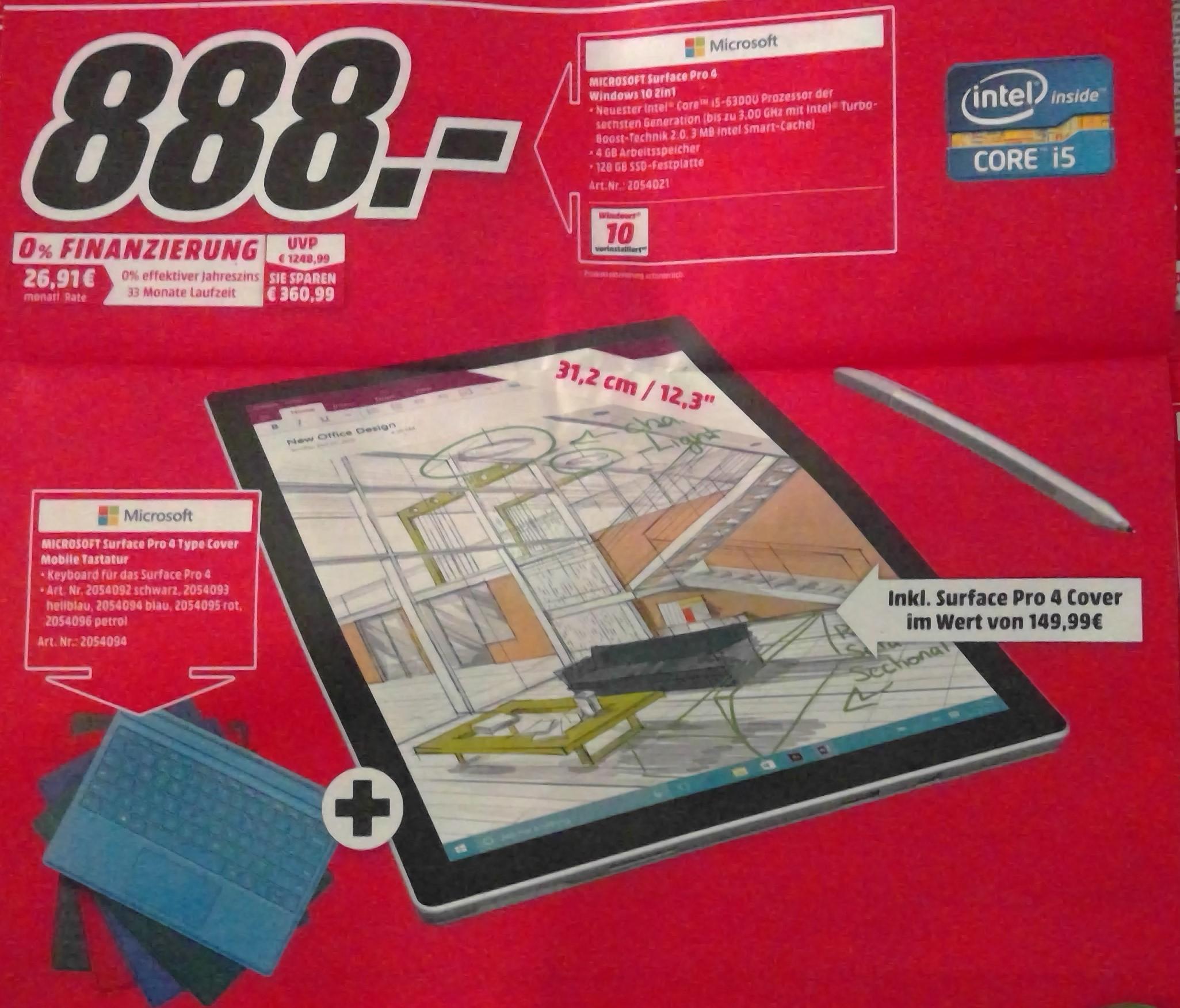 [Lokal MM Nürnberg/Schwabach] Surface Pro 4 i5 128GB + TypeCover für 888€