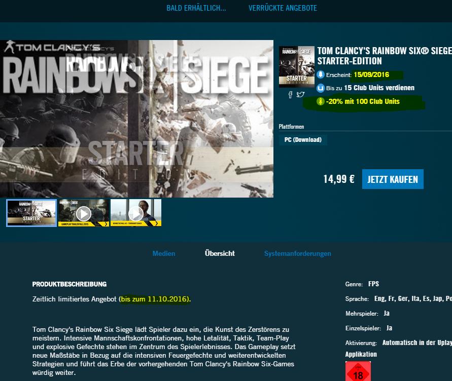 [Wieder verfügbar] PC - Tom Clancys Rainbow Six Siege STARTER-EDITION bis zum 11.10.2016