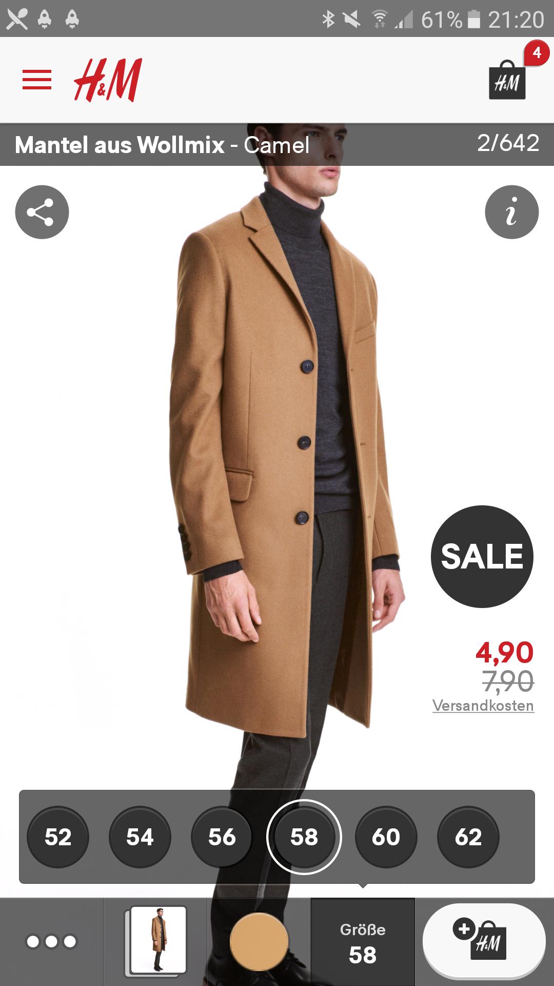 H&M Mantel für Herren ab Größe 58