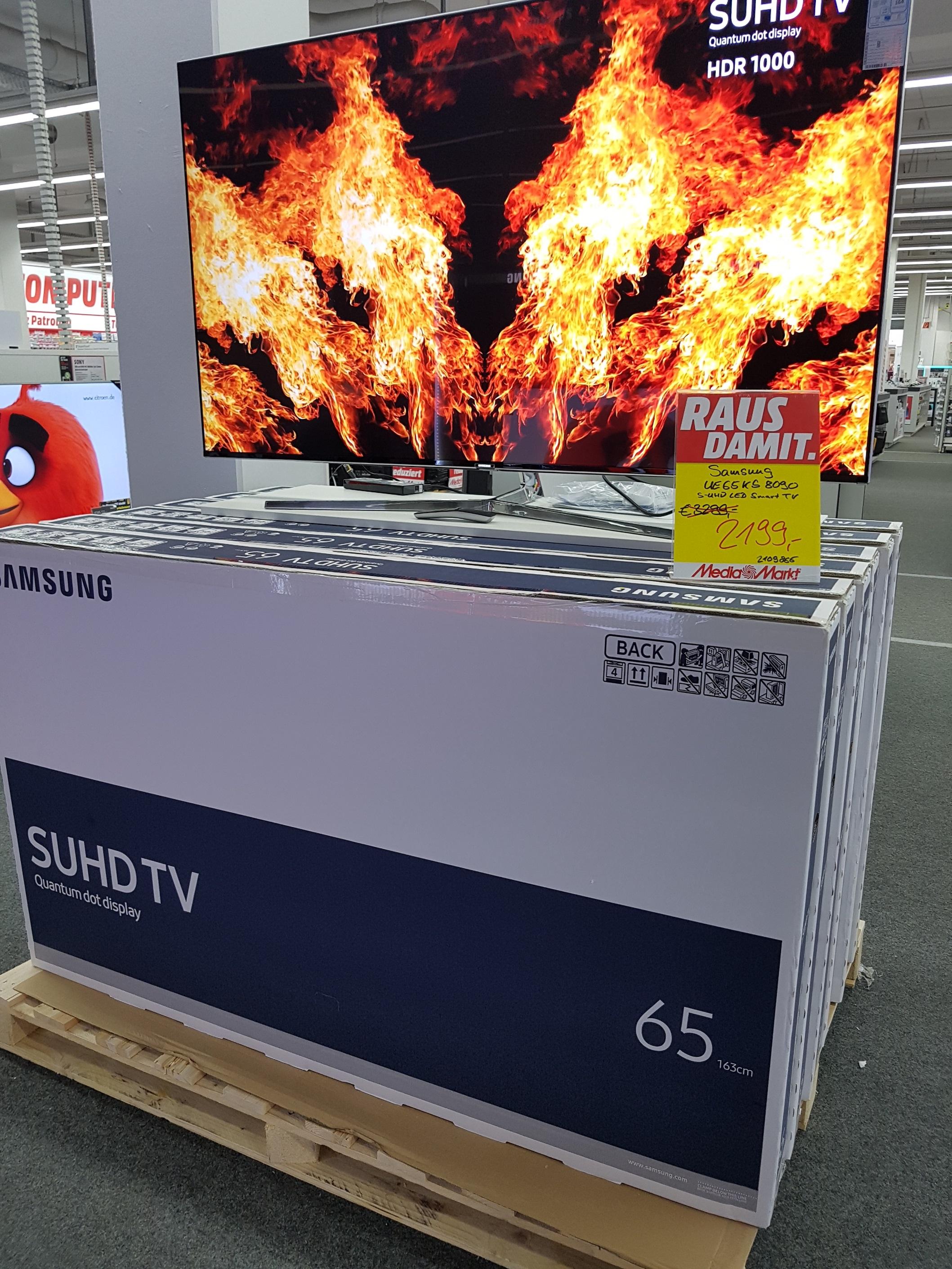 [Mediamarkt Nordhorn] Samsung SUHD UE65KS8090T deutsches Modell für statt 3299,- (Flat, 65 Zoll, UHD 4K, SMART TV) 33Monate 0% Finanzierung möglich