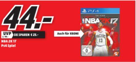 [Lokal Mediamärkte Baden-Württemberg] NBA 2K17 (PS4)  für 44,-€