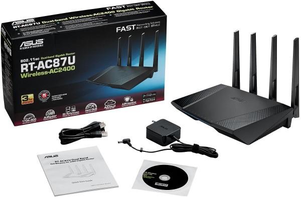 ASUS RT-AC87U AC2400 Dualband WLAN Router Gigabit-4-Port-Switch (a/b/g/n/ac) 1734 Mbps + 600 Mbps @office-partner.de