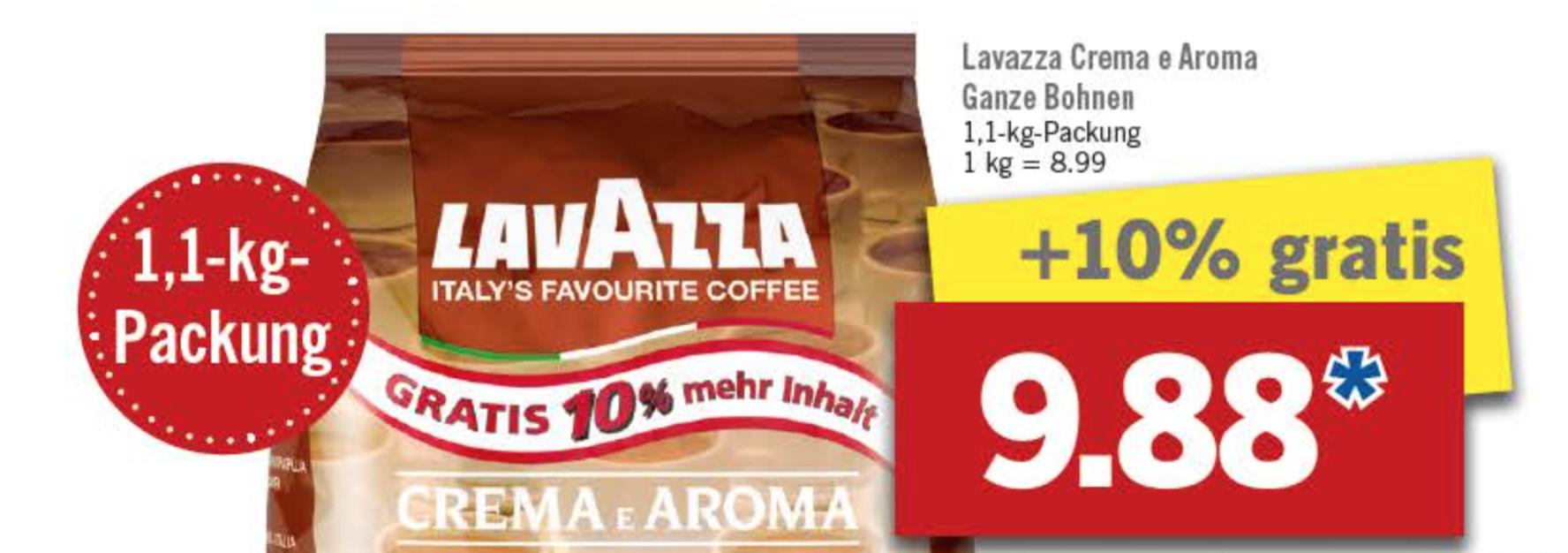 [Lidl] Lavazza Crema e Aroma Ganze Bohnen 1,1kg für 9,88€ ab 19.09.2016