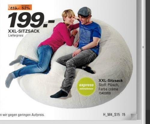 XXXL Plüsch-Sitzsack mit ca. 1200 l (!!) incl. Versand 199€ @ Höffner