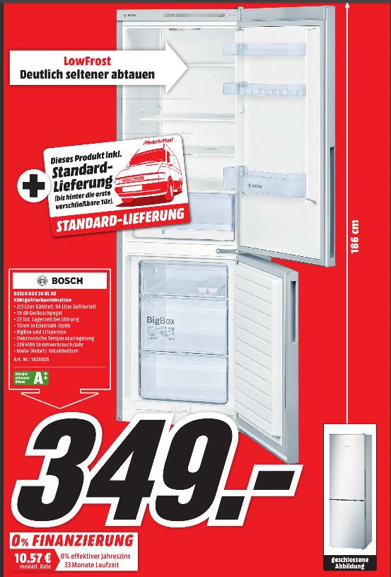 Bosch KGV36UL30 Kühlschrank A++ @ MediaMarkt in Lippstadt inkl. Lieferung für 349 Euro