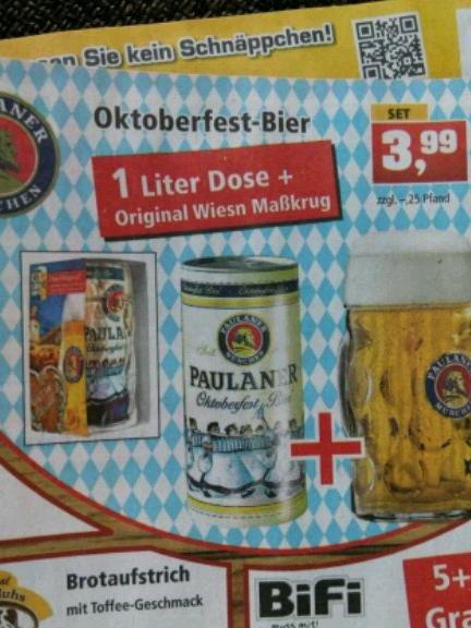 [TP] Paulaner Oktoberfest-Bier 1l-Dose + Maß-Krug