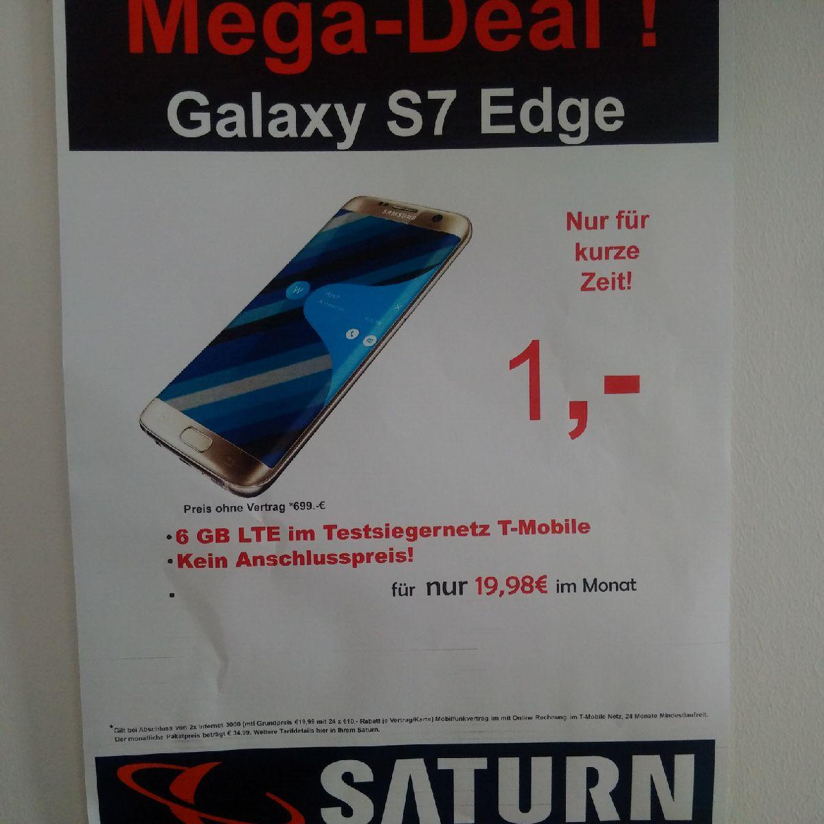 [Lokal] Samsung S7 Edge + Tab E + Telekom 6GB LTE 1x30€ + mtl 19.98€(Saturn Ludwigsburg)