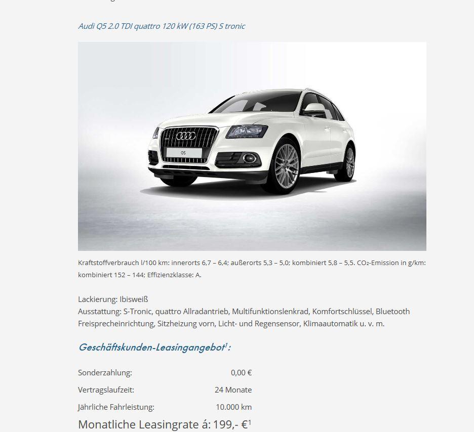 Audi Q5 Der Hammer 199 € für Gewerbe