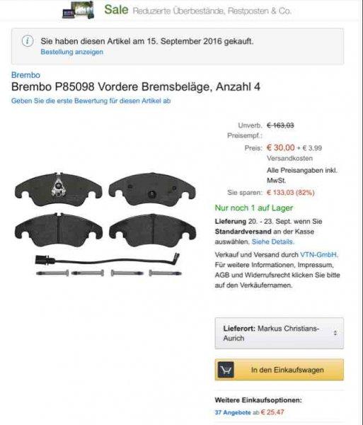 Bremsbeläge Brembo z.B. für Audi Q5 A6 A4 PVG 60,- Amazon