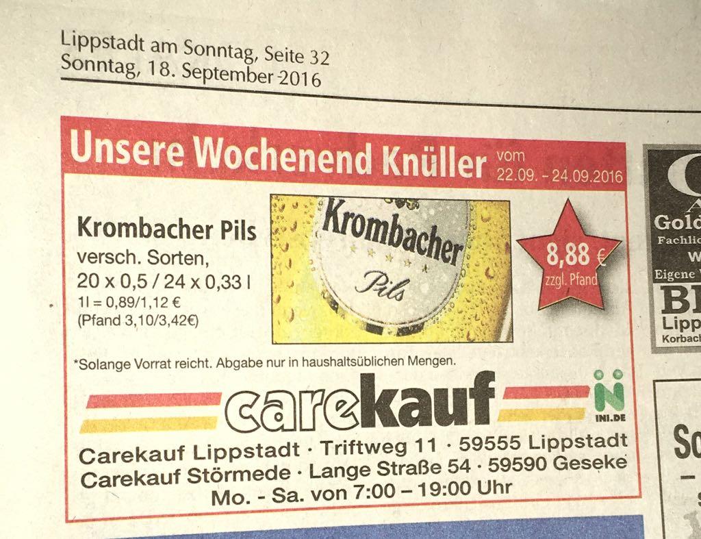 [Lokal Lippstadt & Geseke] Krombacher versch. Sorten 8,88 € zzgl. Pfand