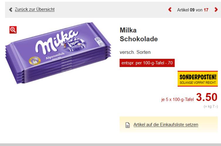 kaufland erkner Milka Schokolade je 5 x 100-g-Tafeln versch. Sorten