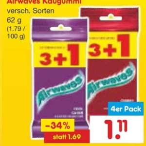 Airwaves Kaugummi 4 Packungen 1,11€ bei Netto
