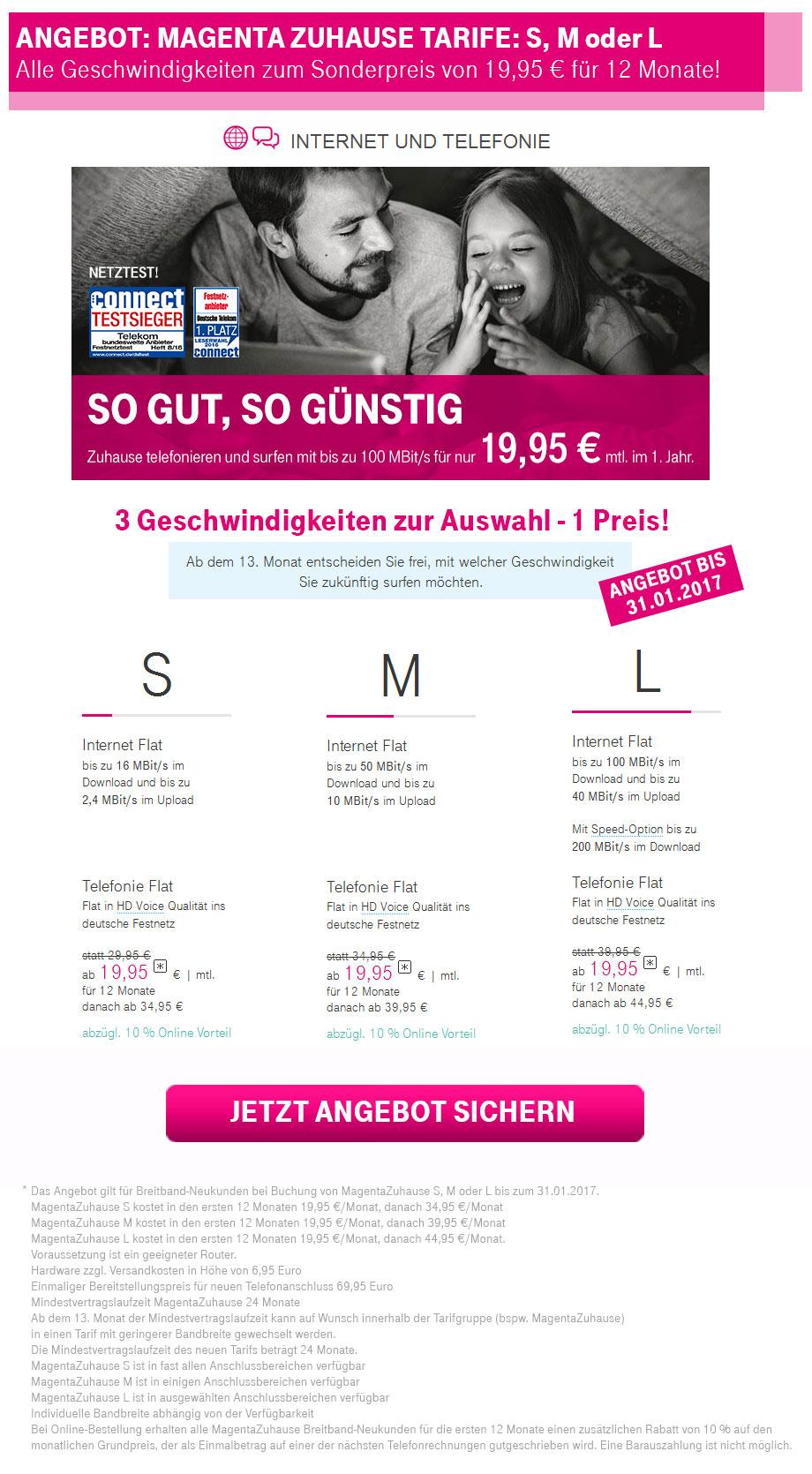 Magenta Zuhause S, M oder L für nur 19,95 €