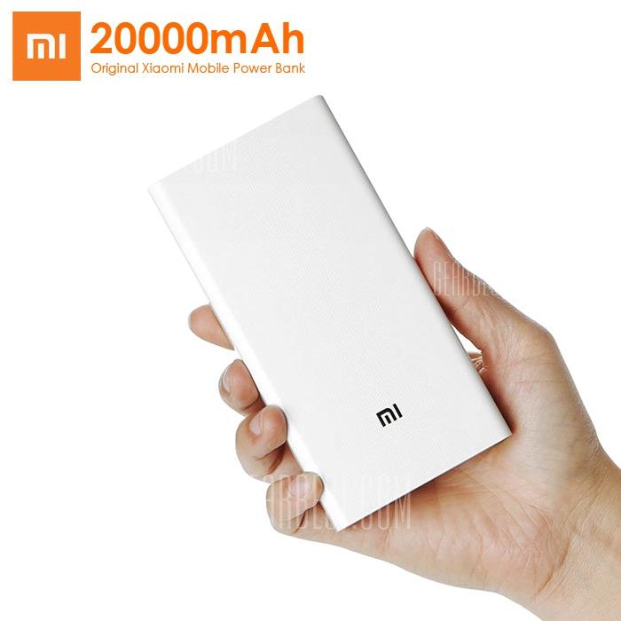 Xiaomi Mi 20000mAh Mobile Power Bank Quick Charging, Dual USB, Weiß für 24,19€ @Gearbest