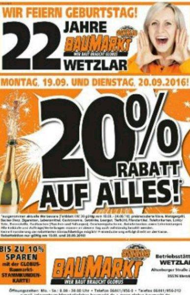 Globus Wetzlar 20% Aktion und Tiefpreisgarantie Hornbach, Bauhaus  möglich