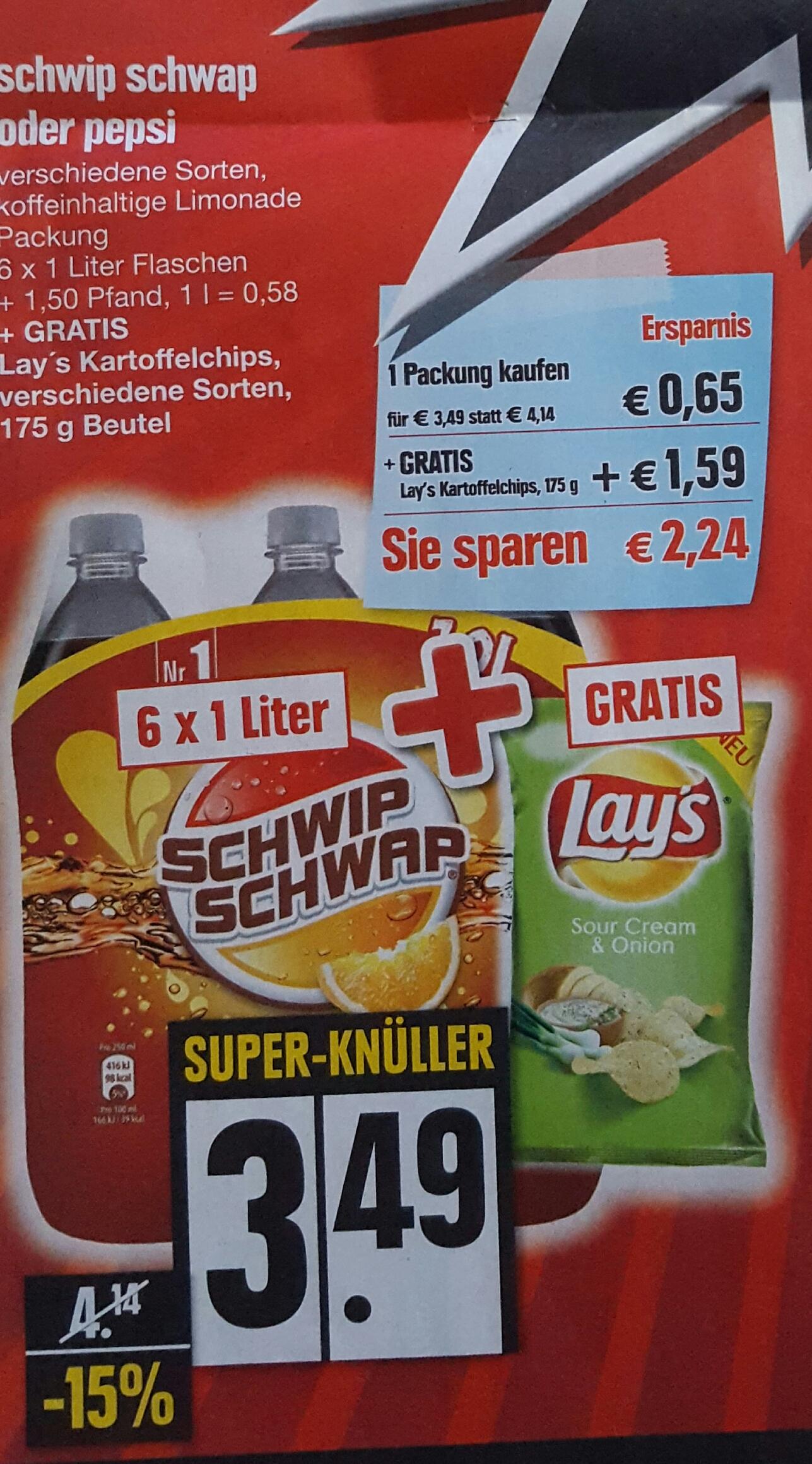 Pepsi oder Schwip Schwap 6 L kaufen + 1 x 175 g Lays Gratis