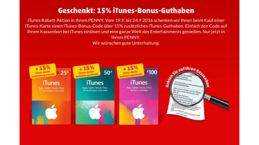 Geschenkt: 15 % iTunes-Bonus-Guthaben