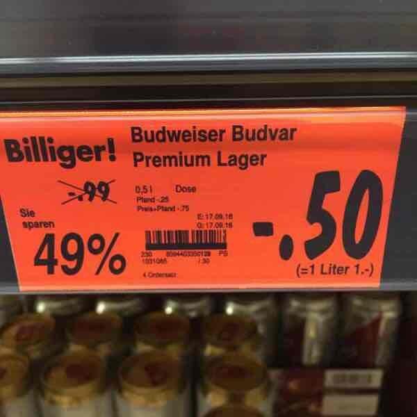 Kaufland Senftenberg Budweiser 0,5l für 50 Cent