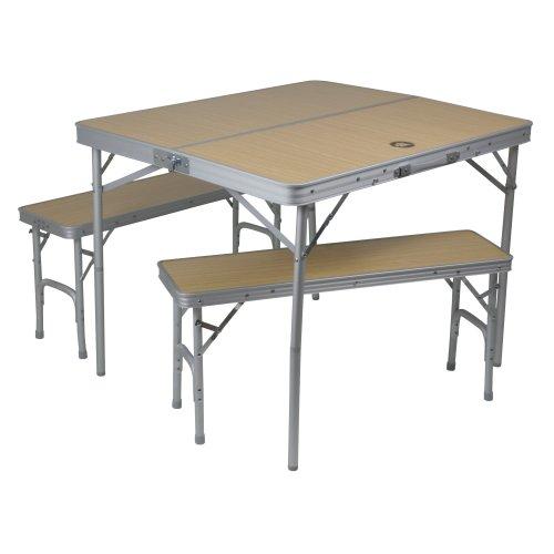 Mobiles Tisch-Bank-Set 4 Personen Aluminium Koffermaß 90x42x10cm statt 70€