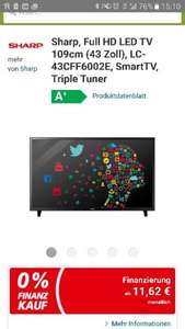 Real online shop: Sharp, Full HD LED TV 109cm (43 Zoll), LC-43CFF6002E, SmartTV, Triple Tuner für 279 €