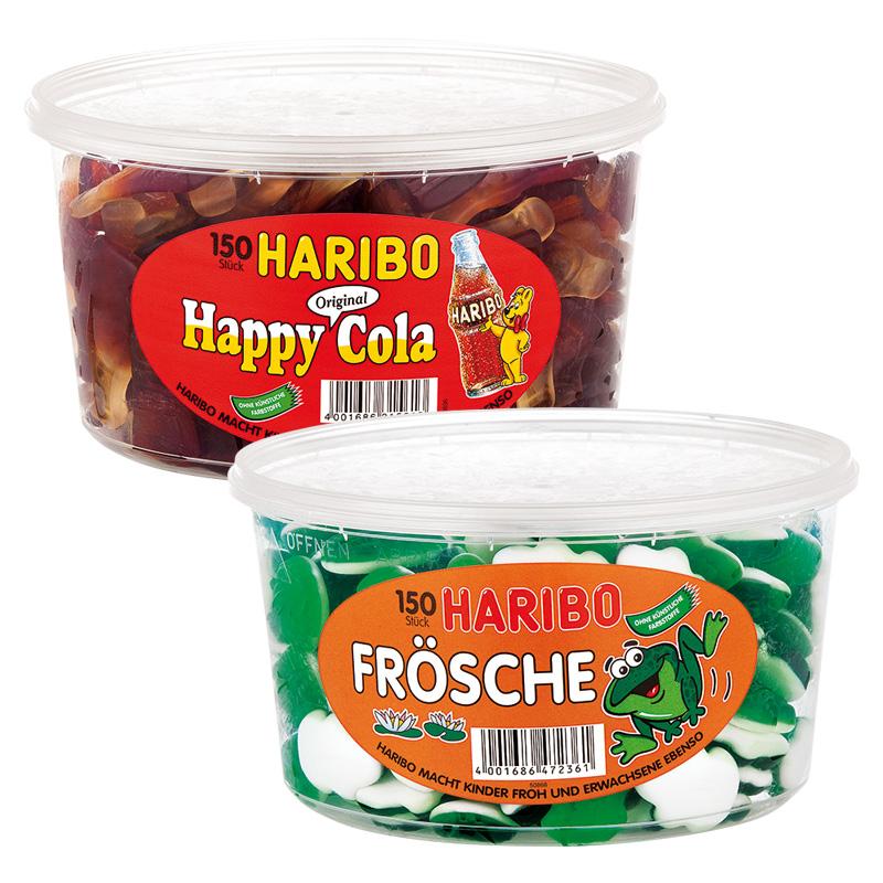 [Norma] Haribo Fruchtgummi Dose Schnuller, Schlümpfe, Cherries, Frösche Cola & andere (150 Stück/Dose) für 4,44€