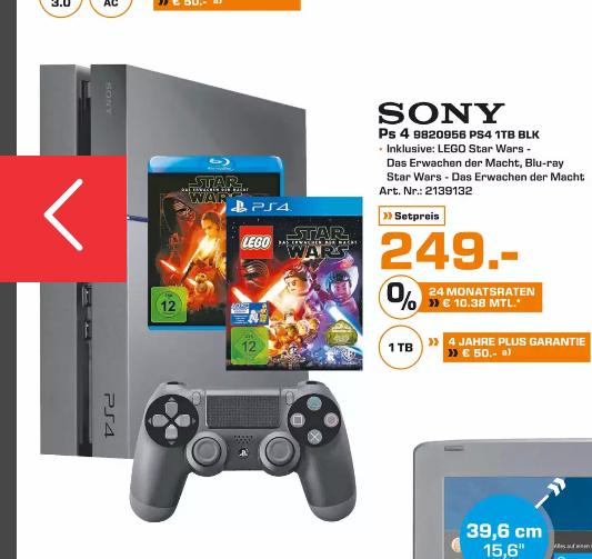 [Lokal Saturn Duisburg am 25.09]  Sony PlayStation 4 (PS4) 1TB + Lego Star Wars: Das Erwachen der Macht + Star Wars: Das Erwachen der Macht Blu-ray-Film für 249,-€