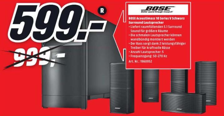 [lokal Media Markt Köln Chorweiler] Bose Acoustimass 10 Series V für 599€ PVG: 1199€
