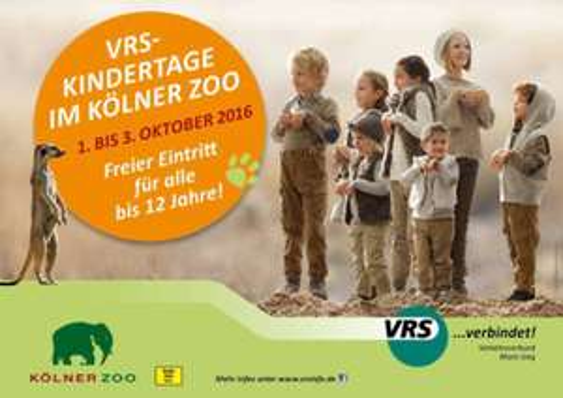 Kölner Zoo: 1. bis 3. Oktober 2016 - freier Eintritt für alle bis 12 Jahre