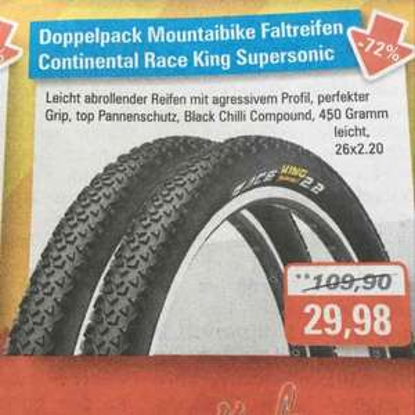 MTB Reifen Continental RaceKing 26x2,20 - Doppelpack (Bikezeit Neutraubling/Regensburg)