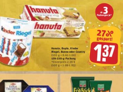 Duplo, Hanuta, Kinder Riegel, Bueno, Country für je 1,37€ (ab 3 Packungen) bei Rewe