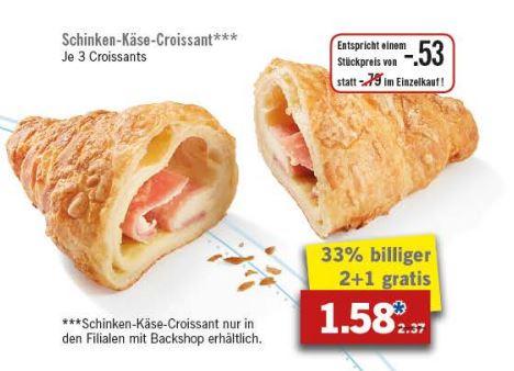 3-für-2-Aktion für Schinken-Käse-Croissants aus der Backtheke [Lidl ab 26.9.]