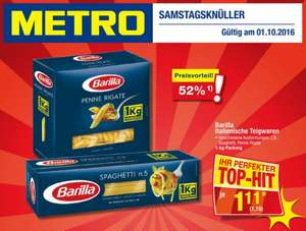 [METRO] Pasta Barilla versch. Sorten - 1,19 / kg - nur am 01.10.