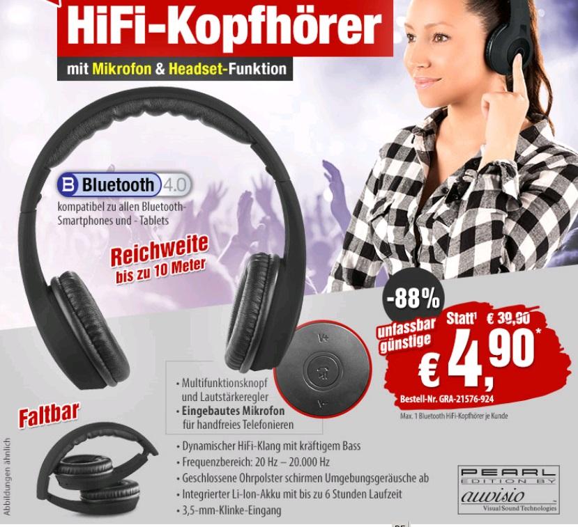Faltbare On-Ear-Kopfhörer (Headset) mit Bluetooth 4.0 & Audio-Eingang, schwarz