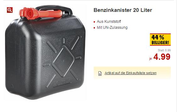 [Kaufland] Benzinkanister 10 Liter für 3,99 € und 20 Liter für 4,99 € – vom 29.9. bis 5.10.2016