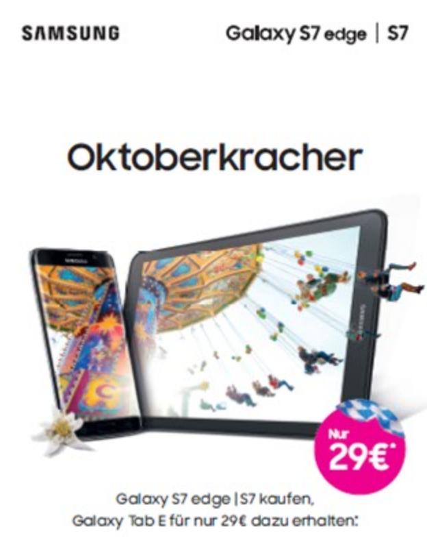 Samsung S7 (Edge): Aktionsverlängerung für Telekom-Kunden - Galaxy Tab E WiFi für 29 €