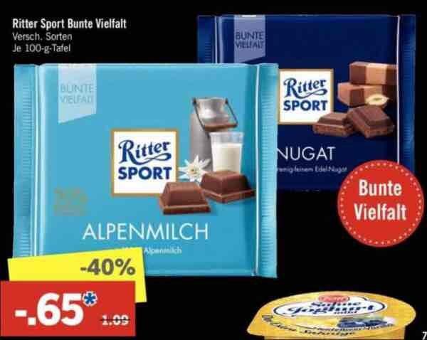 [Lidl] Ritter Sport div. Sorten 0,65€ - Super Samstag