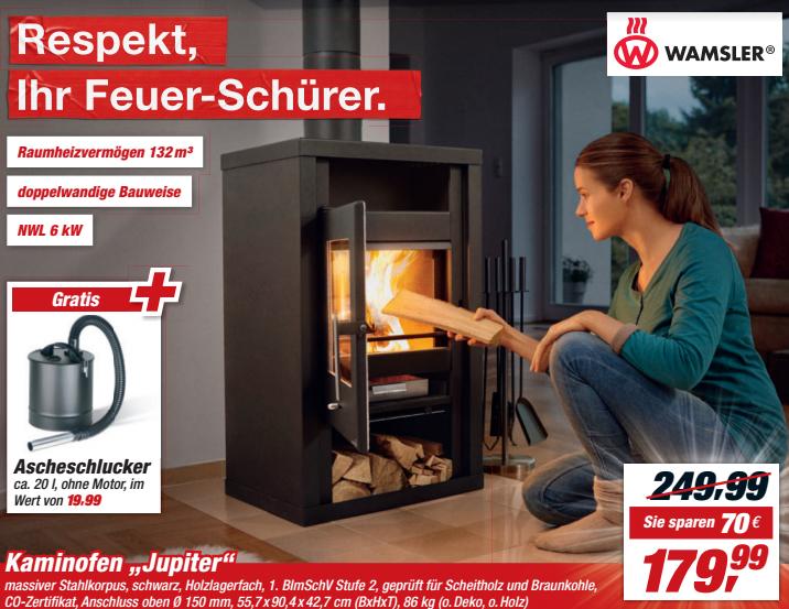 [Toom Baumarkt] Wamsler Kaminofen Jupiter mit Ascheschlucker für 179,99 Euro.