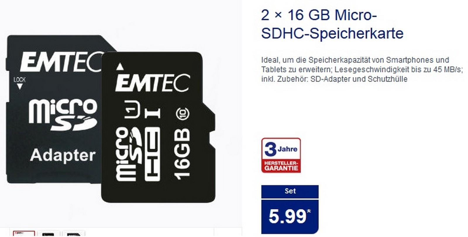 [Aldi-Nord] Ab 29.September Doppelpack 16GB Micro-SDHC EMTEC Speicherkarten Inkl. Adapter, UHS-1 Class 10 für 5,99€