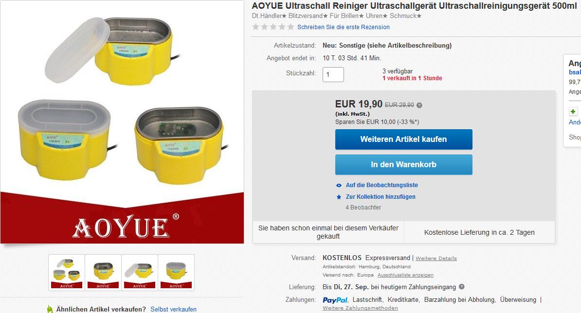 B Ware in OVP!! Ultraschall Reiniger Ultraschallreinigungsgerät für Brillen etc. VGP 30,- bei eBay für 19,99 EURO PayPal mit Rechnung